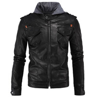 Genuine Leather Jacket Men Motorcycle Winter Hoodie Slim Fit Casual Male Real Leather Coats Brand Clothing veste cuir homme moto