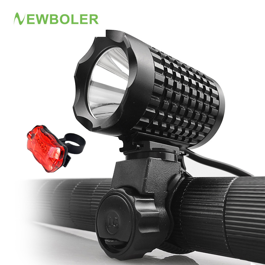 NEWBOLER XM-L T6 LED Bicycle Light Bike Front Lamp Torch Headlight with USB Rechargeable Battery 4000mAh + Bicycle Tail Light newest usb 8000 lumens flashlight led cree xm t6 l2 front torch bicycle light lamp with usb charger bike clip