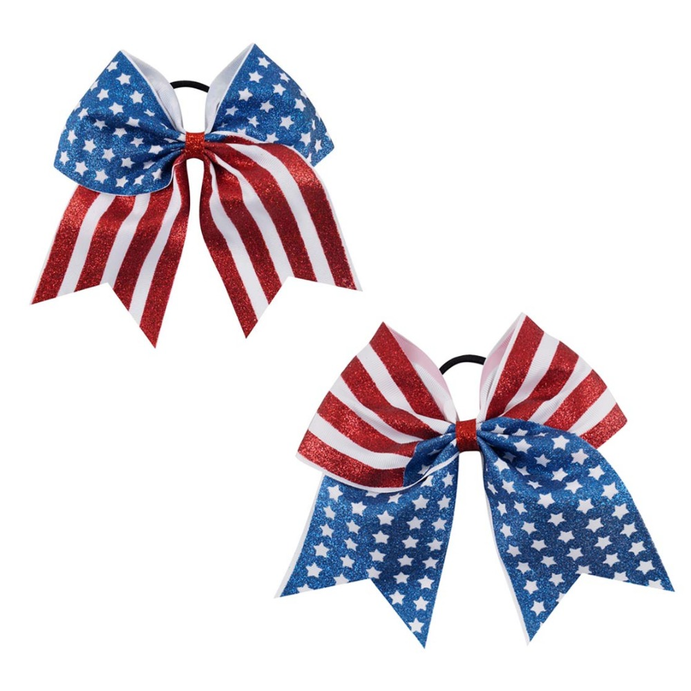 2 Pcs/lot 7 Inch 4th of July Hair Bow Exclusive Patriotic Cheer Bows American Flag Hair Bows for Cheerleading Girls
