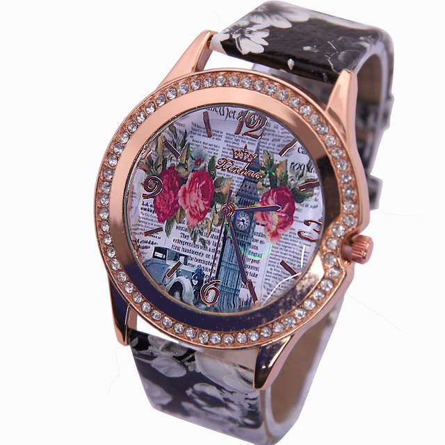 e10a19cc38 Gnova Platinum Flower Printed Watch Women New Brand Wristwatches Ladies  Leather Strap Fashion Casual Analog Quartz