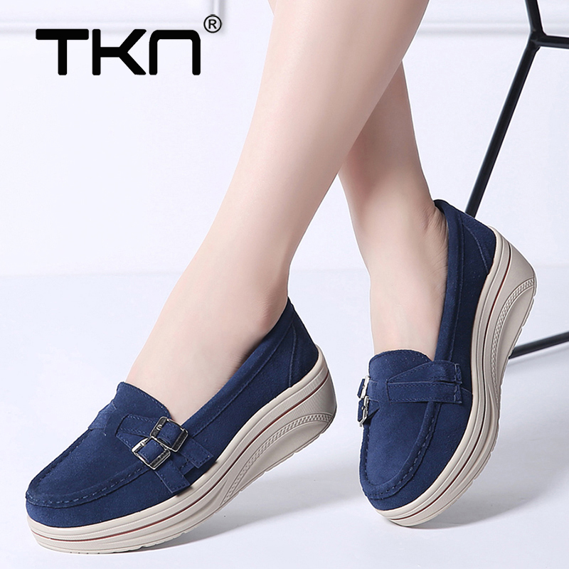 TKN 2019 Spring women flats shoes platform sneakers shoes   leather     suede   casual shoes slip on flats heels creepers moccasins 3039