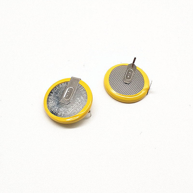 2 adet LIR2032 şarj edilebilir pil 3.6V düğme akülü araba anahtarı uzaktan kumanda pili 90 derece ayak