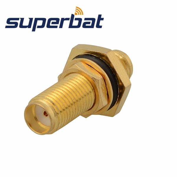 Superbat RF SMA Connector SMA Female Jack To SMA Jack Bulkhead With O-ring Straight Long Version Adapter