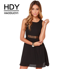 HDY HAODUOYI Fashion Women Dress Solid 3 Colors Strap Sleeveless Crew Neck Vestidos Casual Slim Backless Cut Out Mini Dress casual sleeveless back cut out flare dress for women