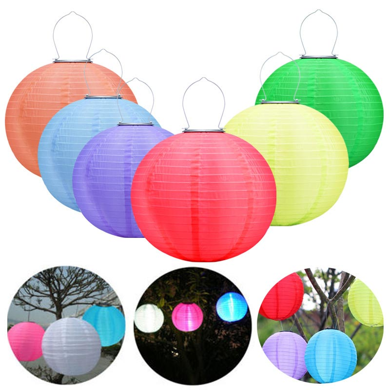 Outdoor LED Solar Chinese Paper Lantern Hanging Night Lights Portable Waterproof Bulbs Decor Lamp For Garden Porch Party Holiday halloween party supply insect shape paper lantern hanging decration