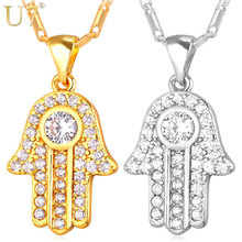 U7 Fatima Hamsa Hand Crystal Necklaces & Pendants For Women Fashion Silver/Gold Color Cubic Zirconia Amulet Turkey Jewelry P691(China)