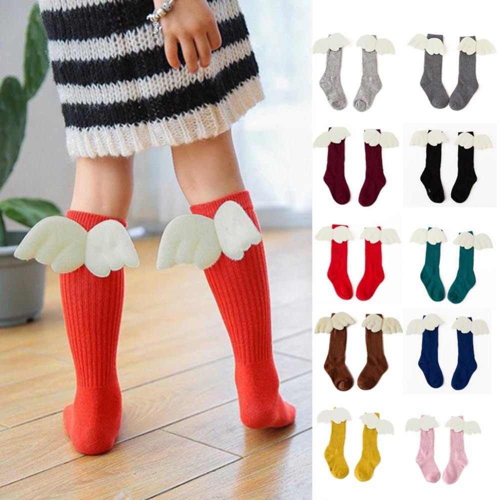 25358218b35 1-10Y Fashion Angel Wings Baby Long Socks Cute Children Knee High Cotton  Soft Girls