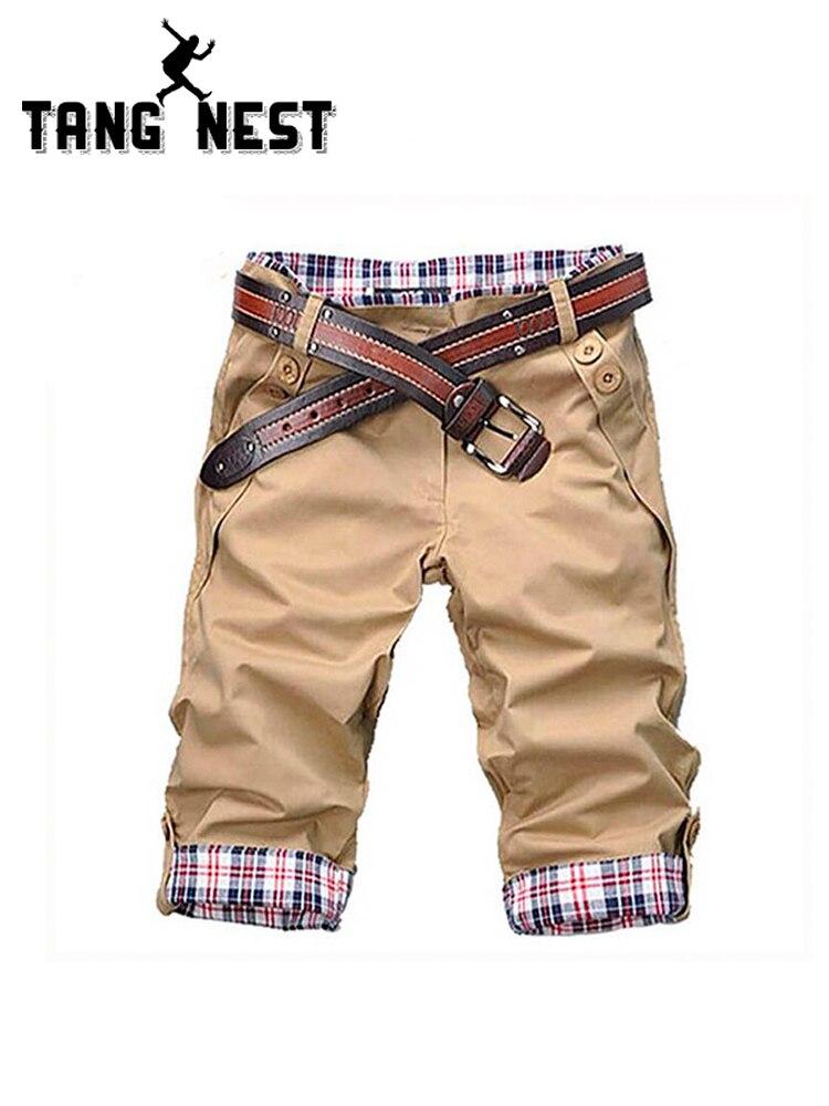 TANGNEST Casual Shorts Men 2019 Summer Short Pants Candy Color Beige Shorts High Quality Beach Shorts Plus Size 2XL no belt Q159