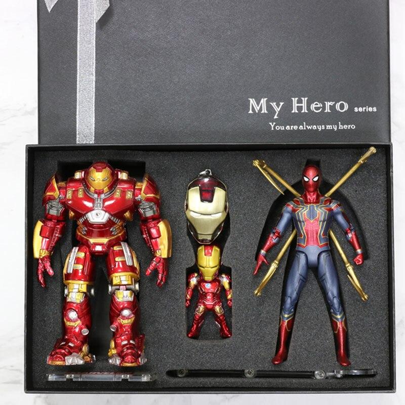 Marvel Avengers super-héros fer homme SpiderMan Captain America SHF coffret figurine Action base à LED pour anniversaire cadeau de noël