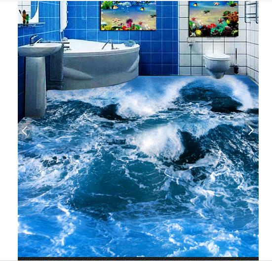 ФОТО 3d wallpaper custom 3d flooring painting wallpaper The waves of the sea waves bathroom 3 d floor 3d living room photo wallpaper