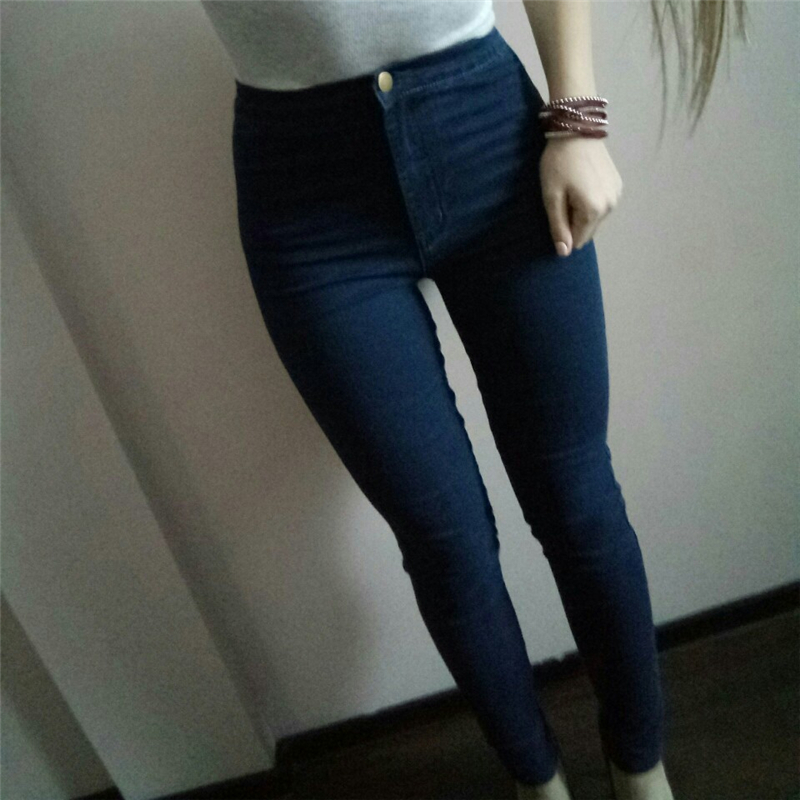 Eastdamo Slim Jeans For Women Skinny High Waist Jeans Woman Blue Denim Pencil Pants Stretch Waist Women Jeans Pants Plus Size 32