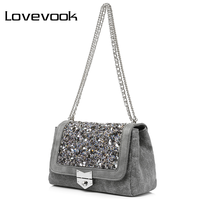 LOVEVOOK brand chain shoulder bag female fashion canvas