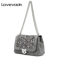 LOVEVOOK Brand Fashion Handbags Women Famous Brands Canvas Shoulder Bags High Quality Diamonds Messenger Bags For