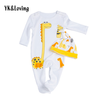 2017 New Dinosaur Baby Boy Romper Cotton Long Sleeve Jumpsuit and Hat 2 Pcs/set Cute Cartoon Pattern Newborn Clothes Winter