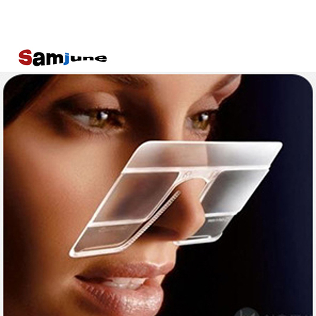 Samjune Nose Resting Reading Glasses +1.0 to +3.0, Portable Emergency Wallet Reader Luxury Frame Glasses Female