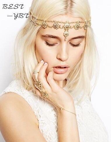 Pearl Tassel Flower Stretch Headband Hair Band Wedding Acessories Crystal Bridal Hair Accessories Head Chain Hair Jewelry