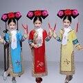 3 Шт. Головные Уборы + Шарф + Костюм Маньчжурской Династии Цин Костюм Китайский Традиционный Платье Принцессы в шляпе для Девочек