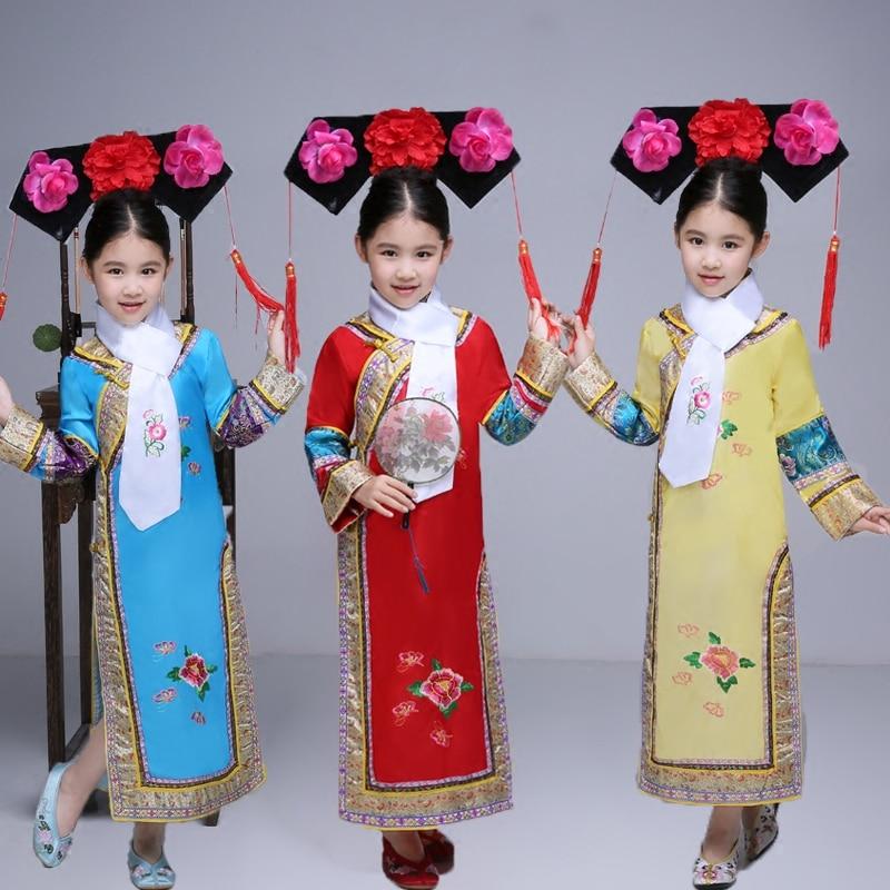 XNUMX шт. Головные уборы + шарф + костюм династии Цин костюм Китайский маньчжурской традиционные платье принцессы со шляпой для Обувь для девочек