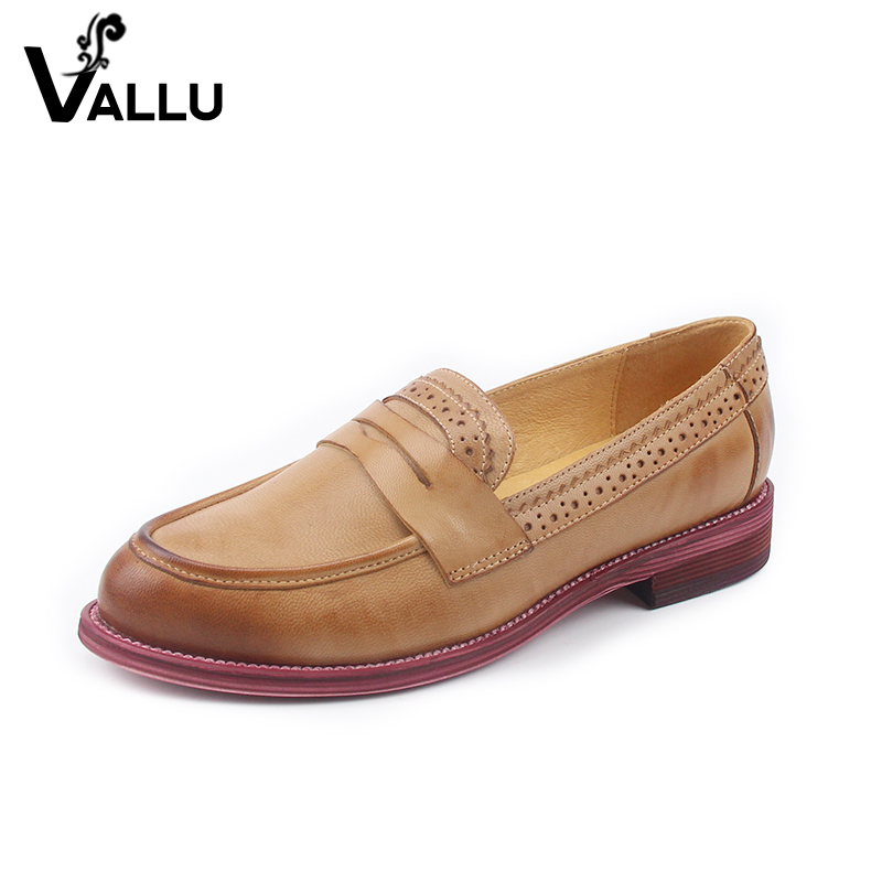 New British Style Casual Shoes Woman 2019 Lady Flat Shoes Summer Genuine Leather Handmade Slip On