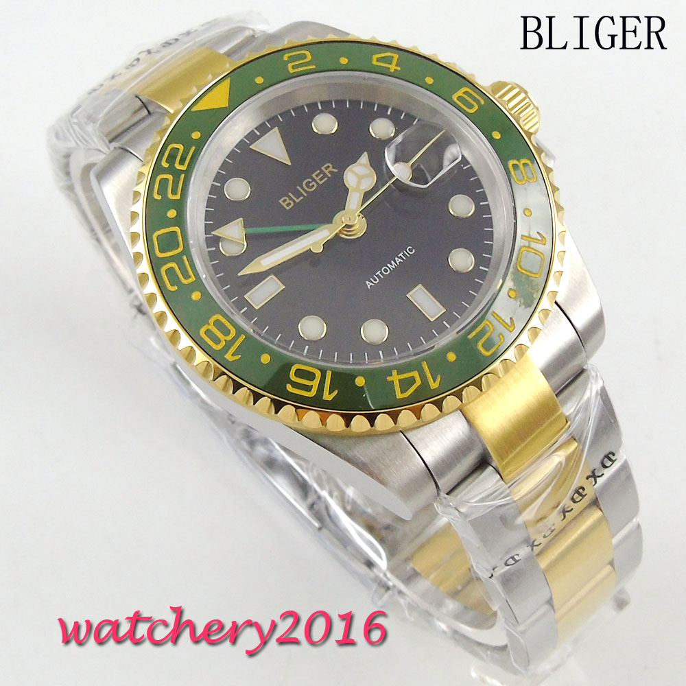 Фото 40mm Bliger black Dial ceramic bezel GMT Stainless Steel Strap Yellow Numbers Sapphire Glass Automatic Movement Men