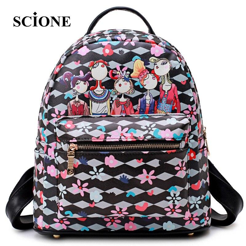SCIONE Brand 2017 New Fashion Women Printing Backpack Leather Backpacks for Teenage Girls Female Pu School