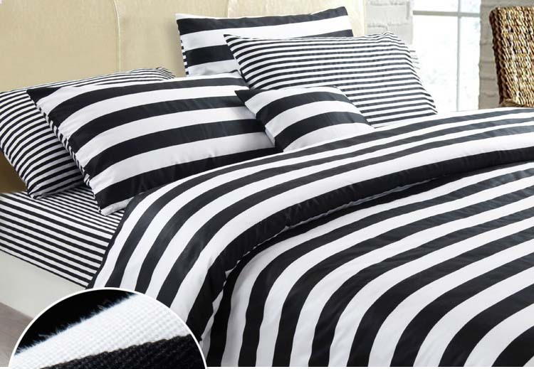 New fashionable Black and White series Stripes 100% cotton 4pcs home duvet  Cover bedding set bedclothes bedlinen Queen King 2293-in Bedding Sets from  Home ... cfae5fb11
