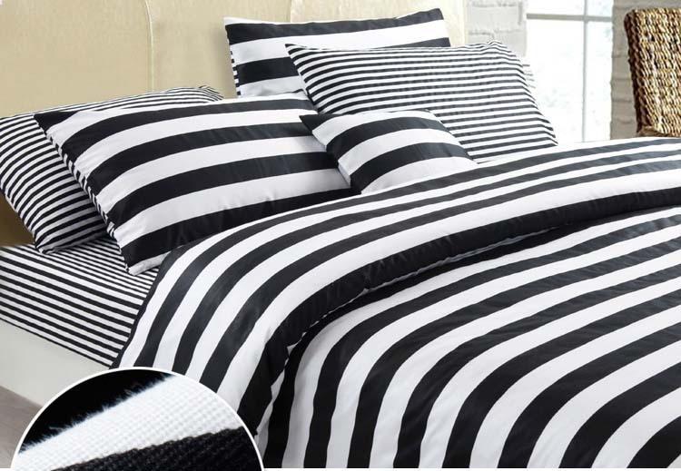 New Fashionable Black And White Series Stripes 100 Cotton 4pcs Home