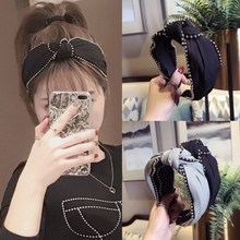 Korea Bilateral Bead Middle Knotted  Hairbands Solid Hair Accessories Hairband Crown Headbands For Girls Bows