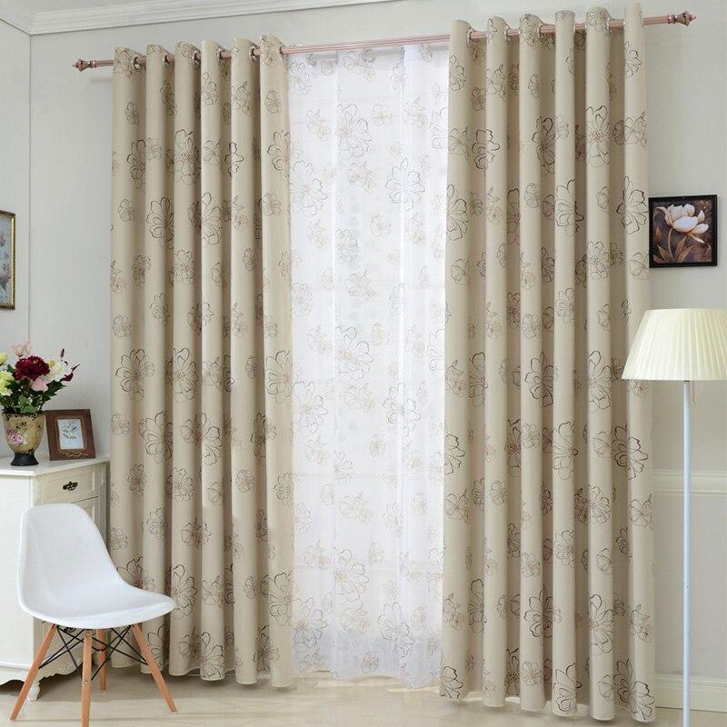 beige crema blackout floral cortinas para sala cocina dormitorio cortina de ventana cortinas de panel y drapary ventana 1 unids en cortinas de casa y - Cortinas Beige
