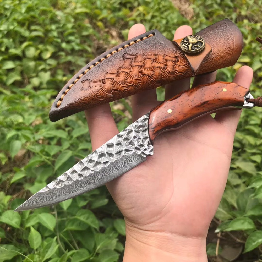 VG10 Damascus steel knife fish knife EDC tool fixed blade snakewood straight knife high hardness outdoor survival camping knife цена