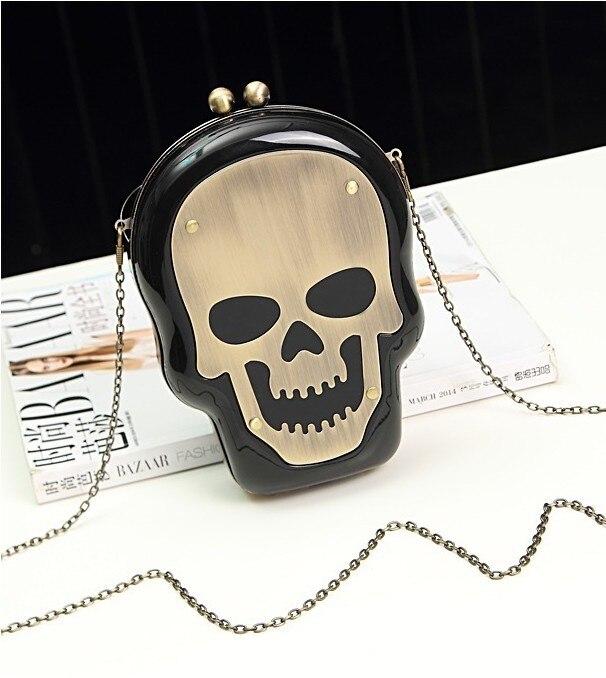 Nouveau acrylique squelette forme femmes petite chaîne sac messenger sac parfum bouteille sacs petit sachet nouveauté acrylique crâne sac