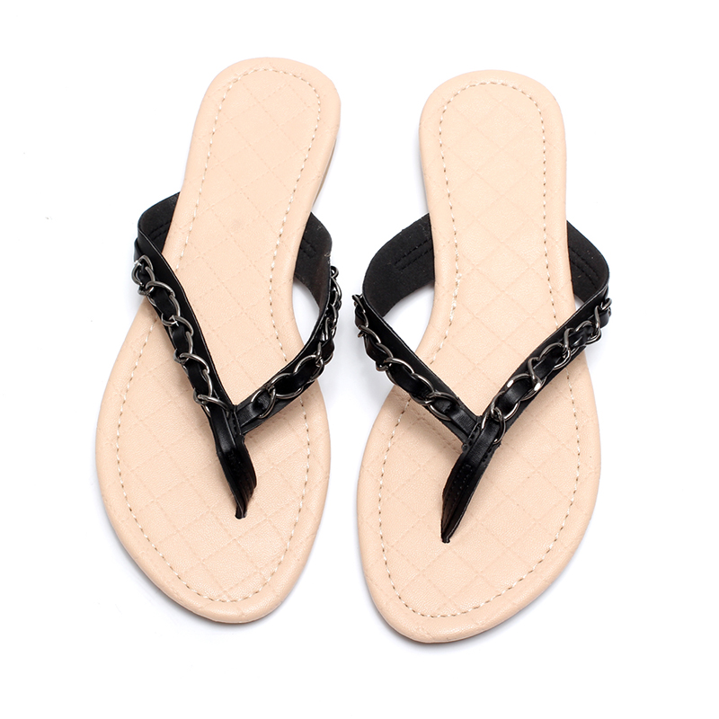 Image 4 - New 2018 Summer Style Flip Flops  Zapatos Mujer Fashion Beach Flat Shoes Woman Sandals Chain Slippers Size 5 9 Free shippingWomens Sandals   -