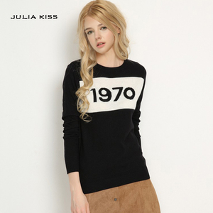 Women 1970 letter pullover Long Sleeve Sweater hot fashion star top Letter 1970 Knitting Tops(China)