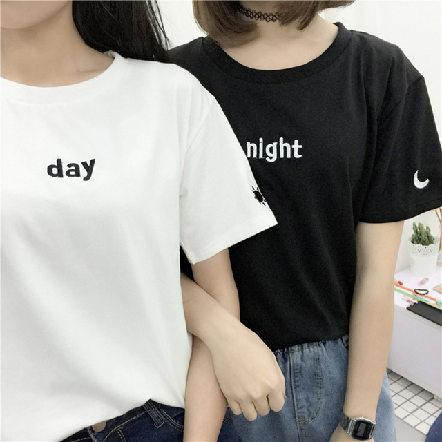 Lovers summer new fashion casual kawaii sun and moon embroidery loose round neck short sleeve T-shirt women