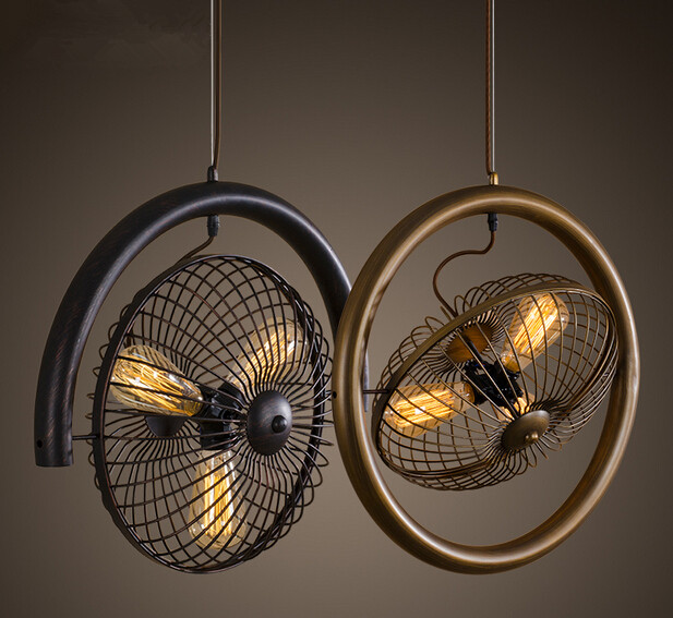 Lightings: Creative Rotatable Fan Loft Style Pendant Lights Iron