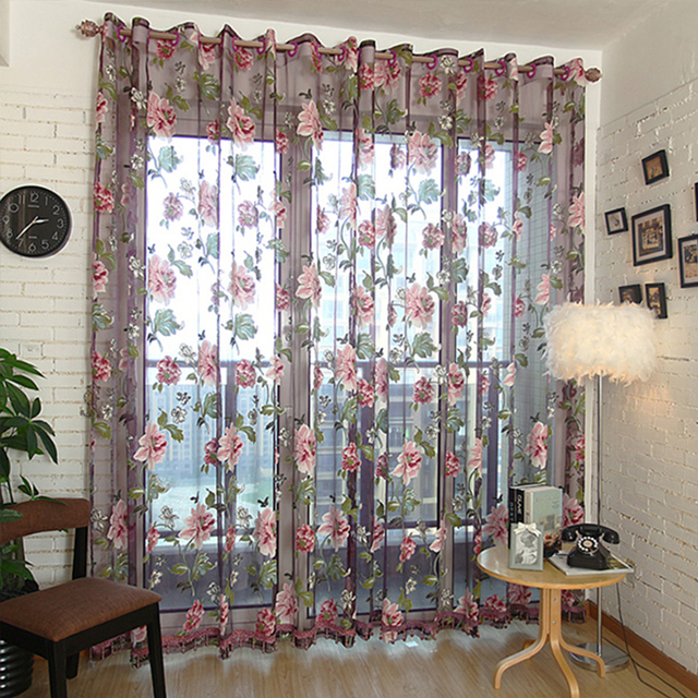 Vendita calda viola floreale tulle in tende trasparenti per soggiorno camera da letto cucina ombra trattamento di finestra tende tenda pannello