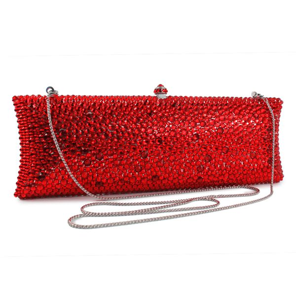 Graceful plain red clutch evening handbags lady party clutch bag (B1008-BSR) swarovski graceful lady 5295386