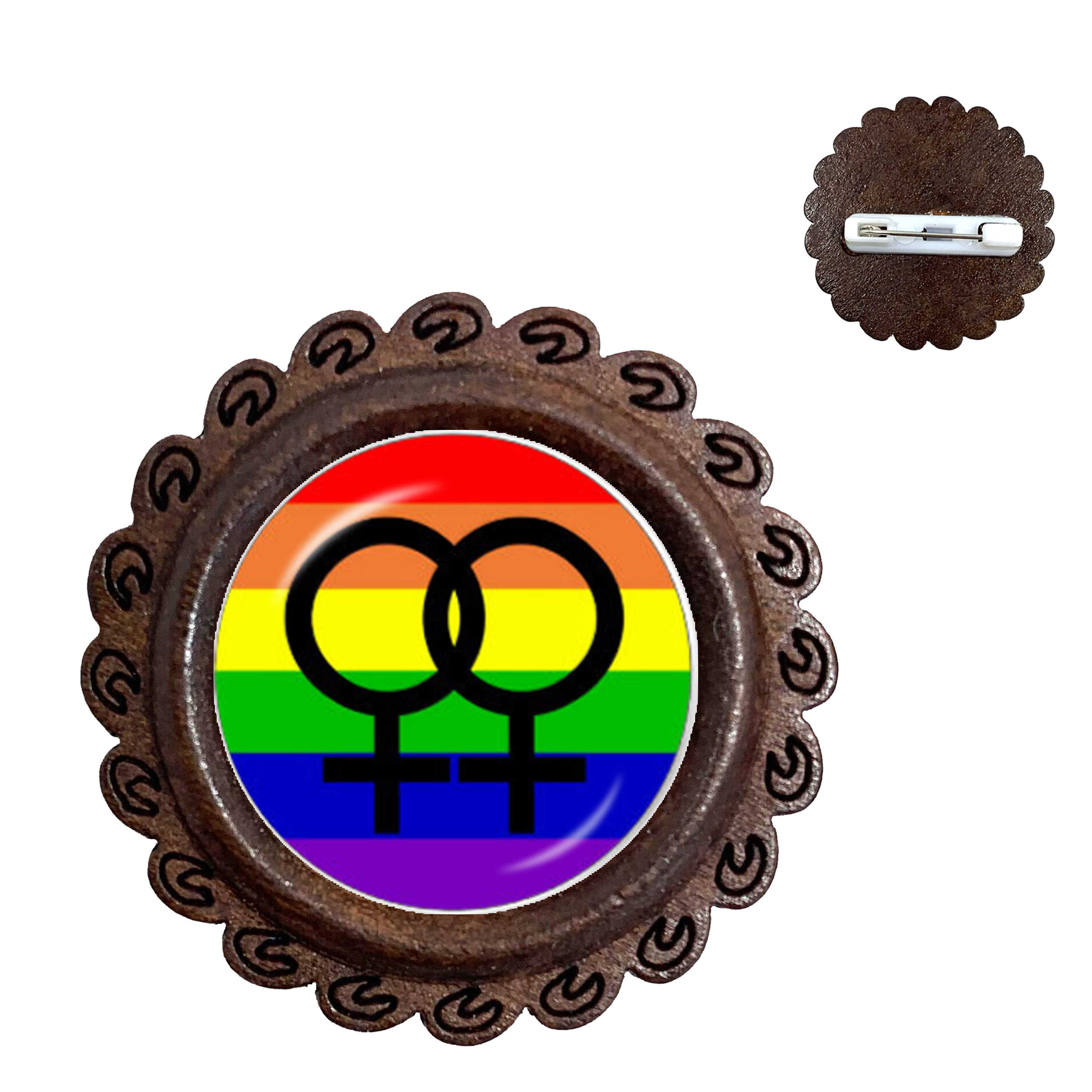 LGBT Broche Bi Pride 20mm Glazen Koepel Gay Pride Pins Regenboog Vlag Photo Glas Cabochon Hout Kraag Pin Voor vrouwen Mannen minnaar Gift