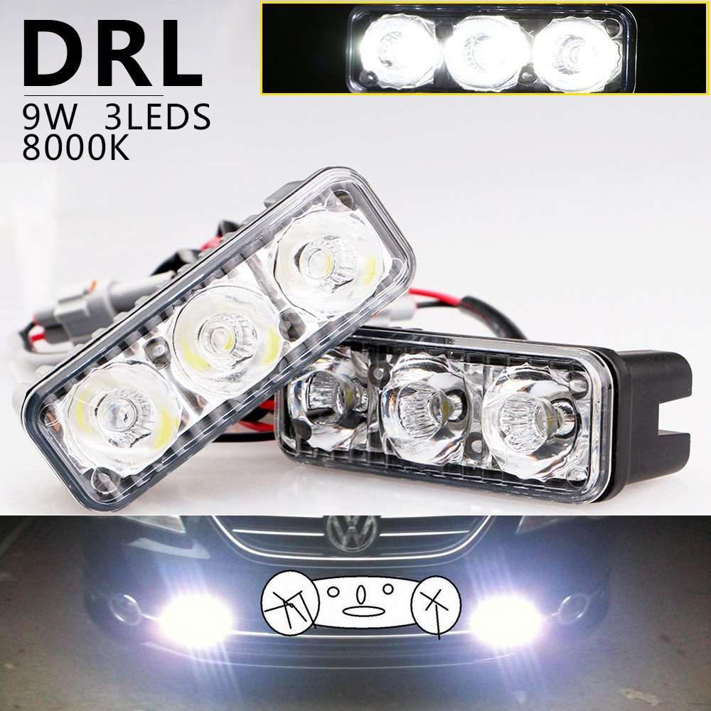 2pcs High Power Aluminum 6 Led 9W Universal Car Light Source Waterproof DC 12V DRL Daytime Running Light Auto Vehicle Fog Lamp