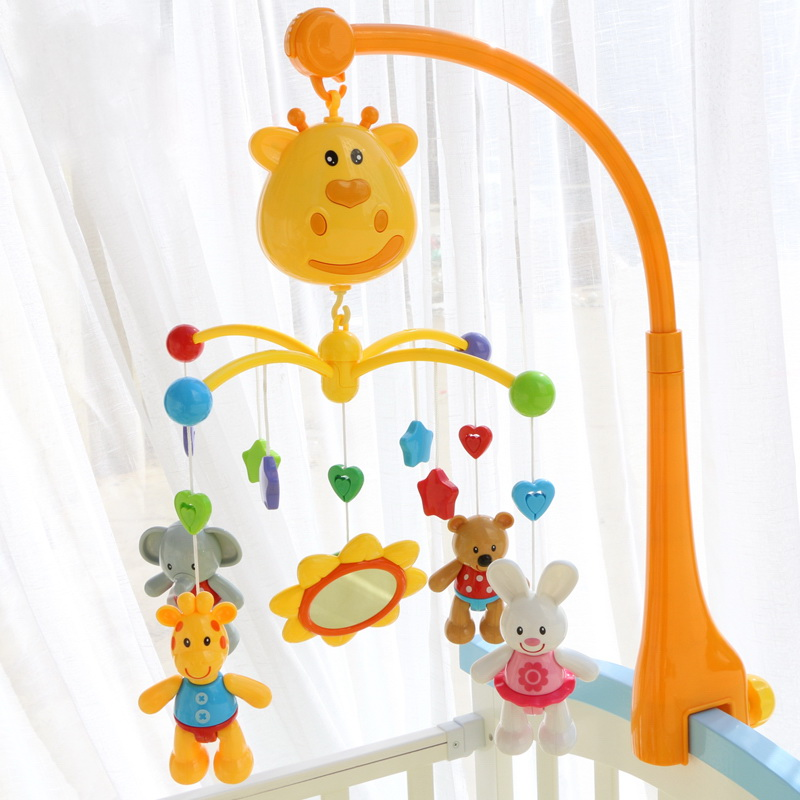 Plastic Crib Toys Removable musical bed bell Baby Toys Baby Rattles Electric Music Educational Toy Hang with Animal Toys shiloh crib mobile infant baby play toys animal bed bell toy mobile cute lovely electric baby music educational toys 60 songs
