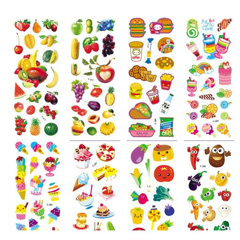 6pcs 3D Puffy Bubble Stickers Cartoon Foam food fruit vegetables hamburger cake classic toy for Kids DIY Scrapbook refrigerator