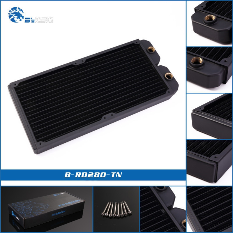 Bykski B-RD140/280/420-TN Copper+Brass Water Cooling Radiator 140/280/420mm Black 28mm Thickness For <font><b>140mm</b></font> <font><b>Fan</b></font> image