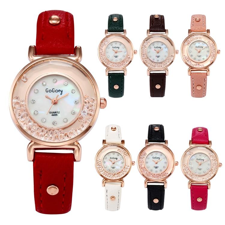2017 New Arrive Gogoey brand leather watches women ladies Quicksand crystal Dress Quartz Wrist Watch Relogio Feminino go4405