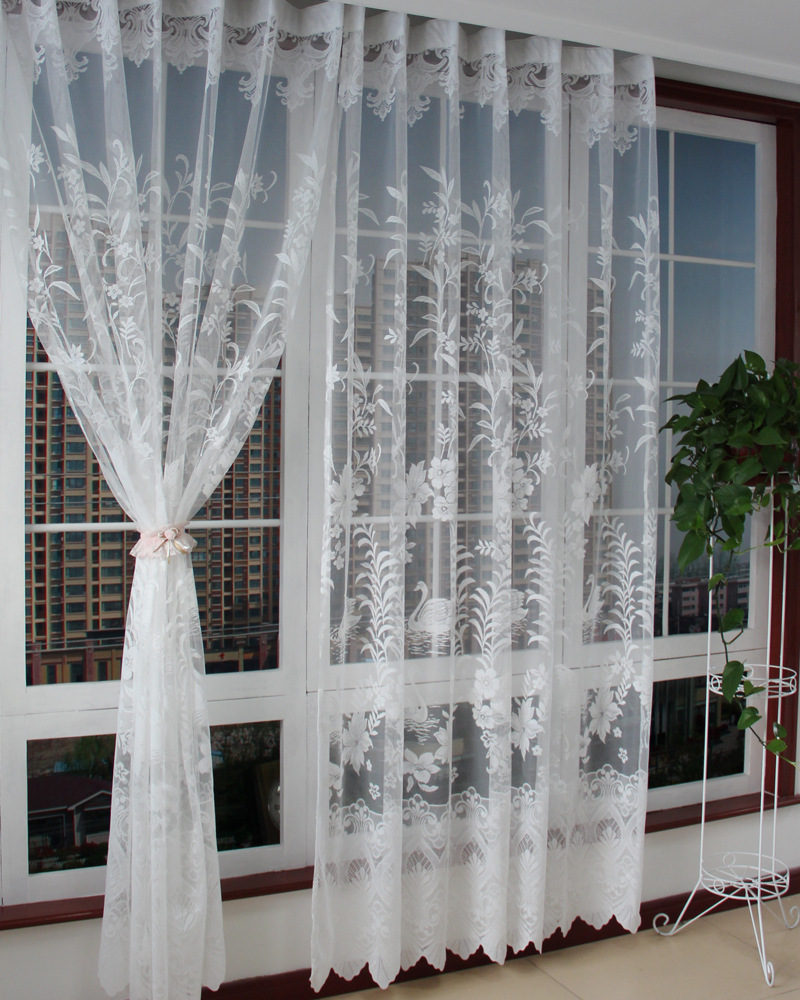 Curtain For Balcony: Luxury Living Room Curtains Tulle Elegant White Swan