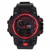 OHSEN Big Oversized Red Digital Analog Calendar Alarm Chronograph Quartz Rubber Reloj 5ATM Waterproof Sport Mens