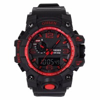 OHSEN Big Oversized Red Digital Analog Calendar Alarm Chronograph Quartz Rubber reloj 5ATM Waterproof Sport Mens Watches /OHS240