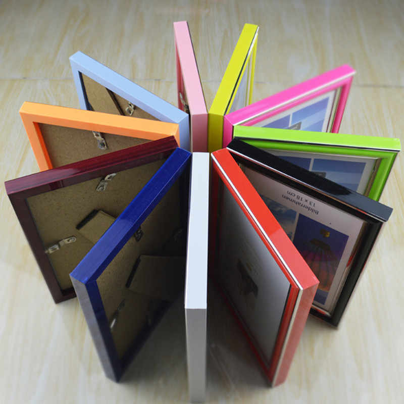 8inch  Frame Acrylic Plexiglass Wood Card Backplane Stand Table Display Photo Quadro Decoration TV Wall Photo Frame New Arrival