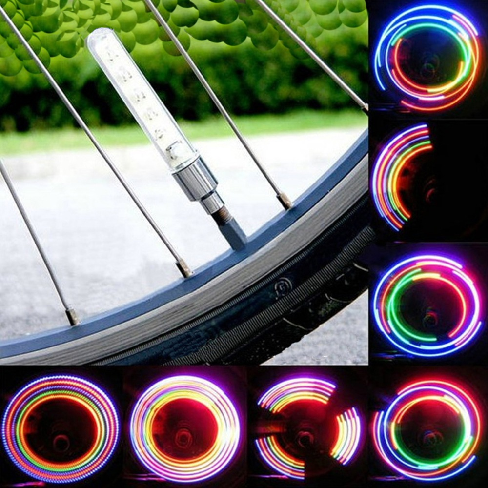 2st 5 LED Cykelhjul Däckventil Cap Spoke Neon Light Lamptillbehör 5 LED Flash Light Sense Lamp Drop Shipping