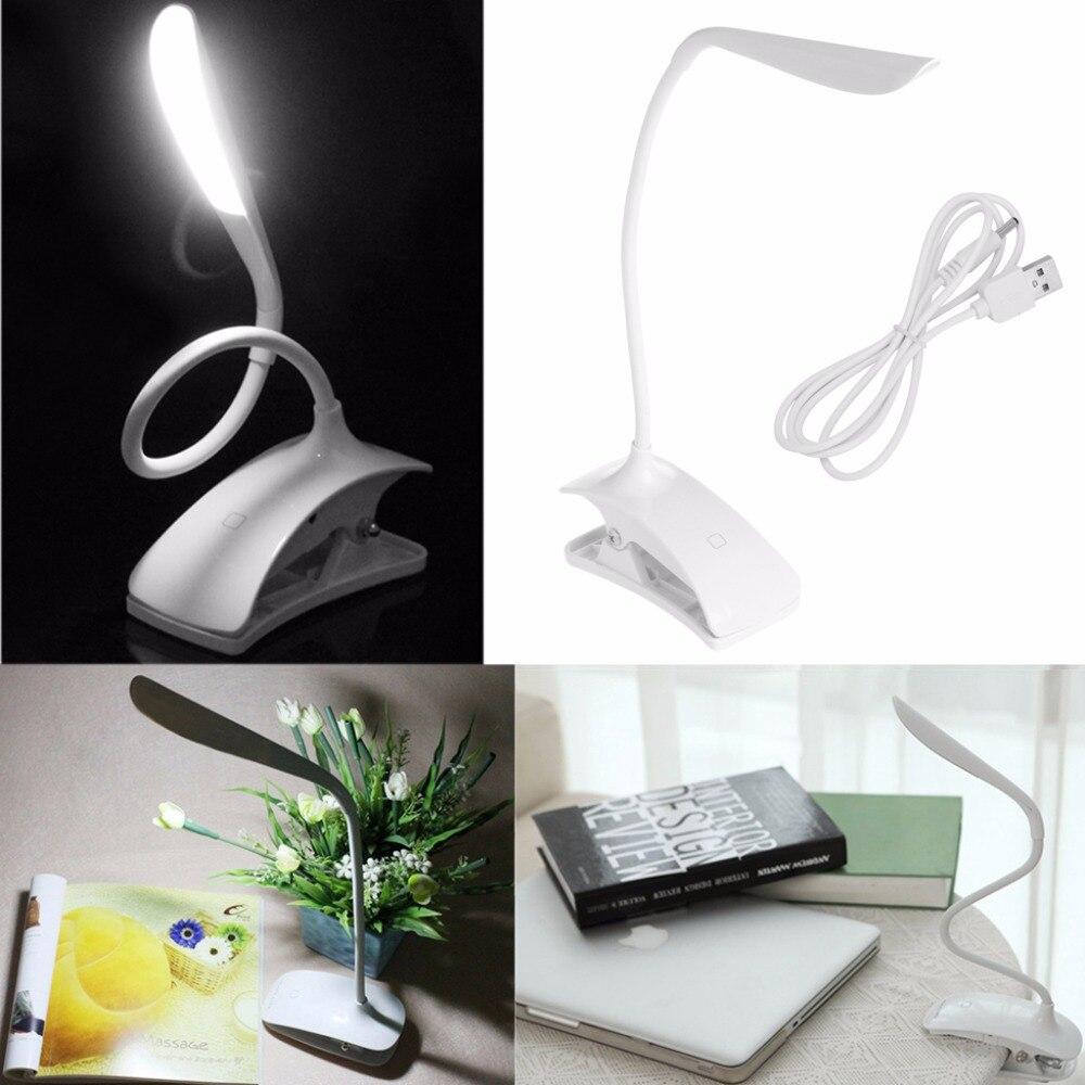 Затемнения Clip-On USB Перезаряжаемые touch Сенсор 14 светодиодов Чтение свет настольная лампа