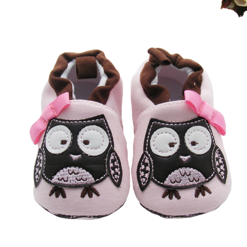Baby Crib Shoes for Girls Boy Slippers Cartoon Owl Newborn First Walkers Infant Toddler Home Footwear Necessities with Pink Bows